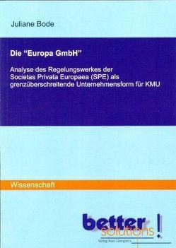 """Die """"Europa GmbH"""" von Bode,  Juliane"""