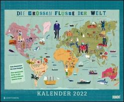 Die großen Flüsse der Welt 2022 – Landkarten-Kalender für Kinder und Erwachsene – Wandkalender 52 x 42,5 cm – Spiralbindung von Haake,  Martin