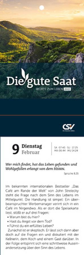 Die gute Saat – Abreißkalender Kleinformat von Christliche Schriftenverbreitung,  e.V.