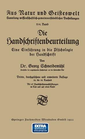 Die Handschriftenbeurteilung von Schneidemühl,  Georg