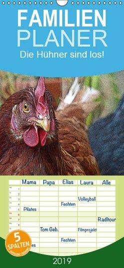Die Hühner sind los! – Familienplaner hoch (Wandkalender 2019 , 21 cm x 45 cm, hoch) von M. Laube,  Lucy