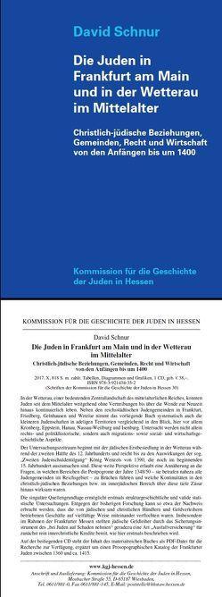 Die Juden in Frankfurt am Main und in der Wetterau im Mittelalter von Schnur,  David