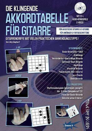 Die klingende Akkordtabelle für Gitarre – mit CD+ (Audio/Video) von Sieghart,  Jörg