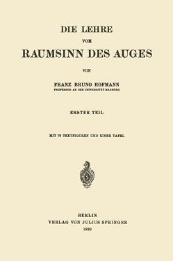 Die Lehre vom Raumsinn des Auges von Hofmann,  Franz Bruno