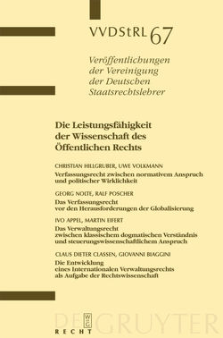 Die Leistungsfähigkeit der Wissenschaft des Öffentlichen Rechts von et al., Hillgruber,  Christian, Nolte,  Georg, Poscher,  Ralf, Volkmann,  Uwe