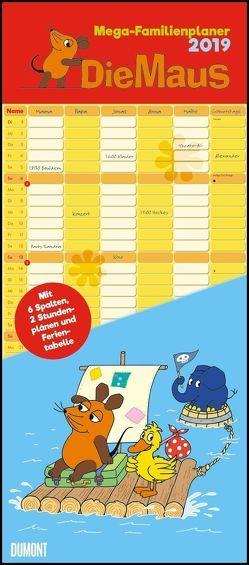 Die Maus 2019 – DUMONT Mega-Familienkalender mit 6 Spalten – Familienplaner mit 2 Stundenplänen und Ferientabelle – Hochformat 30,0 x 68,5 cm von DUMONT Kalenderverlag, Schmitt-Menzel,  Isolde, Streich,  Friedrich