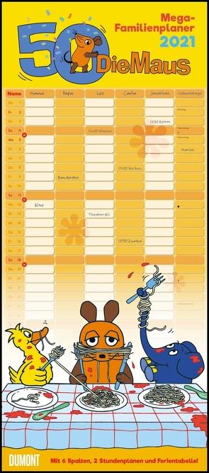 Die Maus 2021 – DUMONT Mega-Familienkalender mit 6 Spalten – Familienplaner mit 2 Stundenplänen und Ferientabelle – Hochformat 30,0 x 68,5 cm von Schmitt-Menzel,  Isolde, Streich,  Friedrich