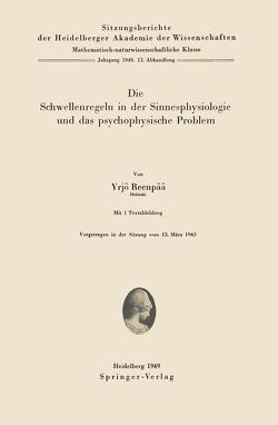 Die Schwellenregeln in der Sinnesphysiologie und das psychophysische Problem von Reenpää,  Y.
