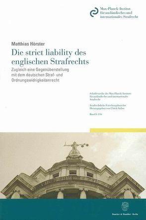 Die strict liability des englischen Strafrechts. von Hörster,  Matthias
