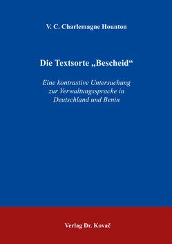 """Die Textsorte """"Bescheid"""" von Hounton,  V. C. Charlemagne"""