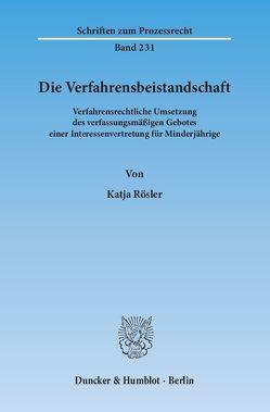 Die Verfahrensbeistandschaft. von Rösler,  Katja