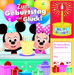 Disney Baby – Micky und Minnie – Zum Geburtstag viel Glück! – Geburtstags-Soundbuch mit 1 Melodie und leuchtender Kerze – Pappbilderbuch für Kinder ab 12 Monaten