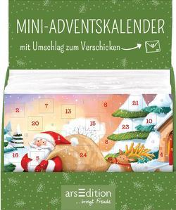 Display Adventskalender zum Verschicken für Kinder (DIN A6) mit 24 Türchen und Kuvert