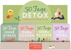 Display Kartenboxen 50 Tage Detox. Ideenkärtchen für den Alltag