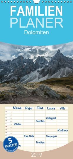 Dolomiten – Familienplaner hoch (Wandkalender 2019 , 21 cm x 45 cm, hoch) von Burri,  Roman