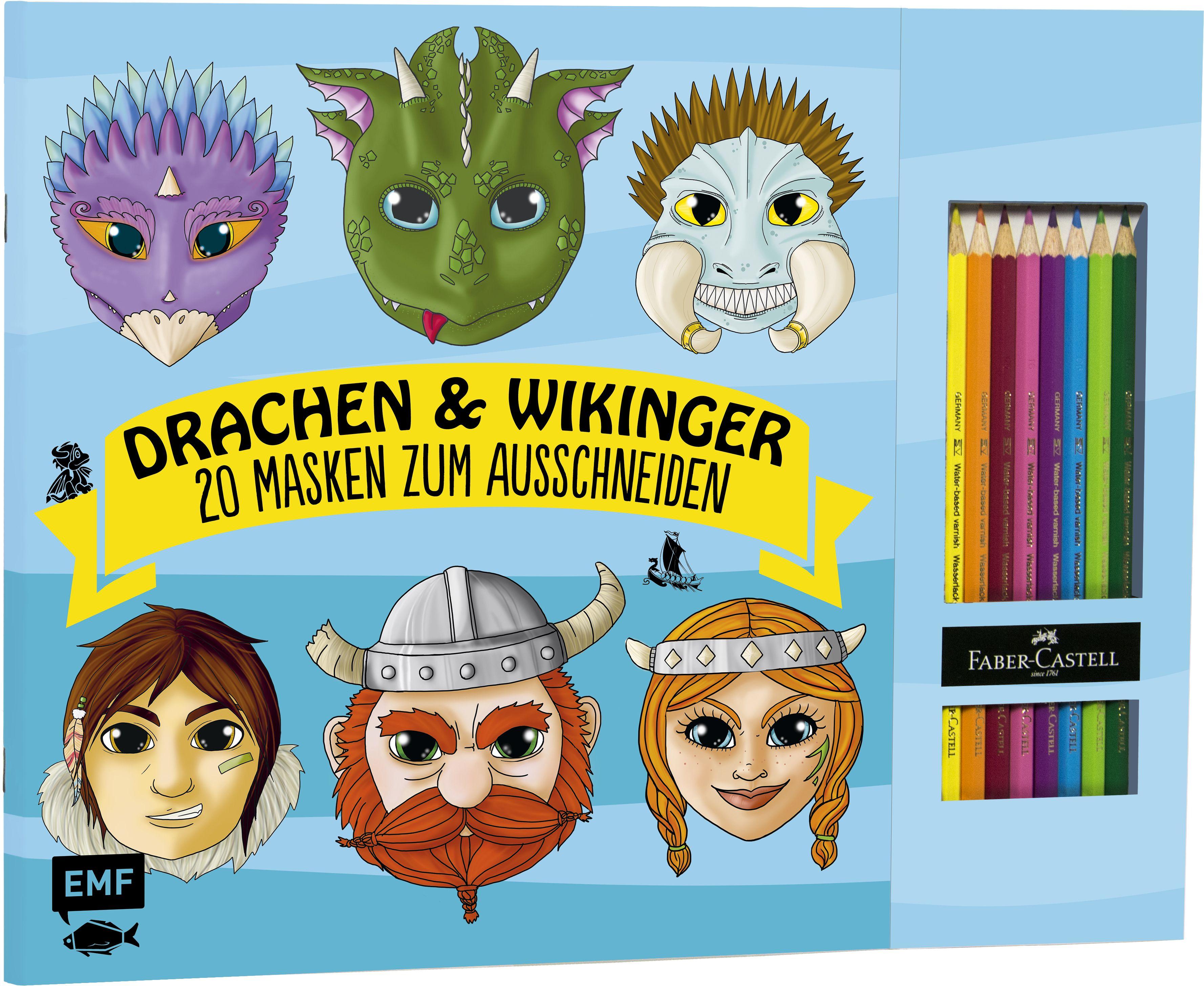 drachen wikinger 20 masken zum ausmalen und. Black Bedroom Furniture Sets. Home Design Ideas