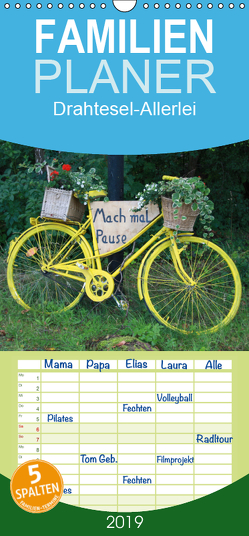 Drahtesel-Allerlei – Familienplaner hoch (Wandkalender 2019 , 21 cm x 45 cm, hoch) von Keller,  Angelika