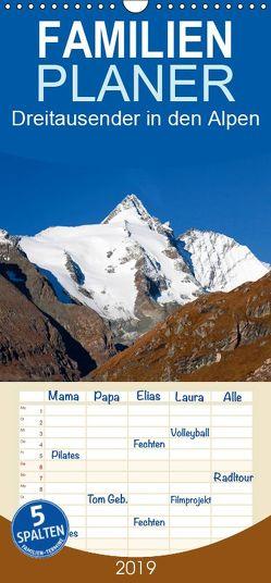 Dreitausender in den Alpen – Familienplaner hoch (Wandkalender 2019 , 21 cm x 45 cm, hoch) von Kramer,  Christa