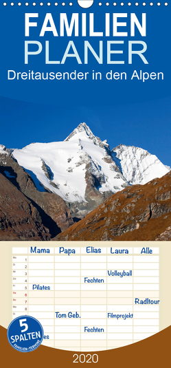 Dreitausender in den Alpen – Familienplaner hoch (Wandkalender 2020 , 21 cm x 45 cm, hoch) von Kramer,  Christa