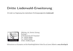 Dritte Liederwald-Erweiterung von Sonntag,  Dominic