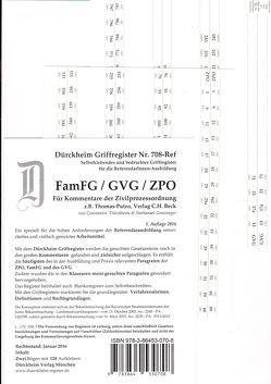 FamFG / GVG / ZPO, Thomas-Putzo Assessor/in Dürckheim-Griffregister Nr. 708-Ref /, z.B. für den Thomas-Putzo 2016/2017 von Dürckheim,  Constantin, Grassinger,  Nathanael
