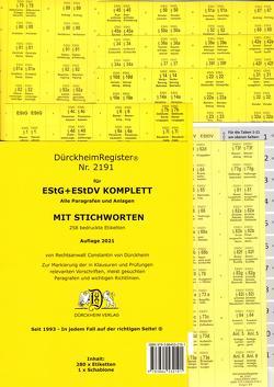 DürckheimRegister® EStG+EStDV KOMPLETT alle §§§ STICHWORTE 2021 von Dürckheim,  Constantin