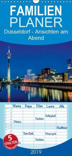 Düsseldorf – Ansichten am Abend – Familienplaner hoch (Wandkalender 2019 , 21 cm x 45 cm, hoch) von Hoffmann,  Klaus