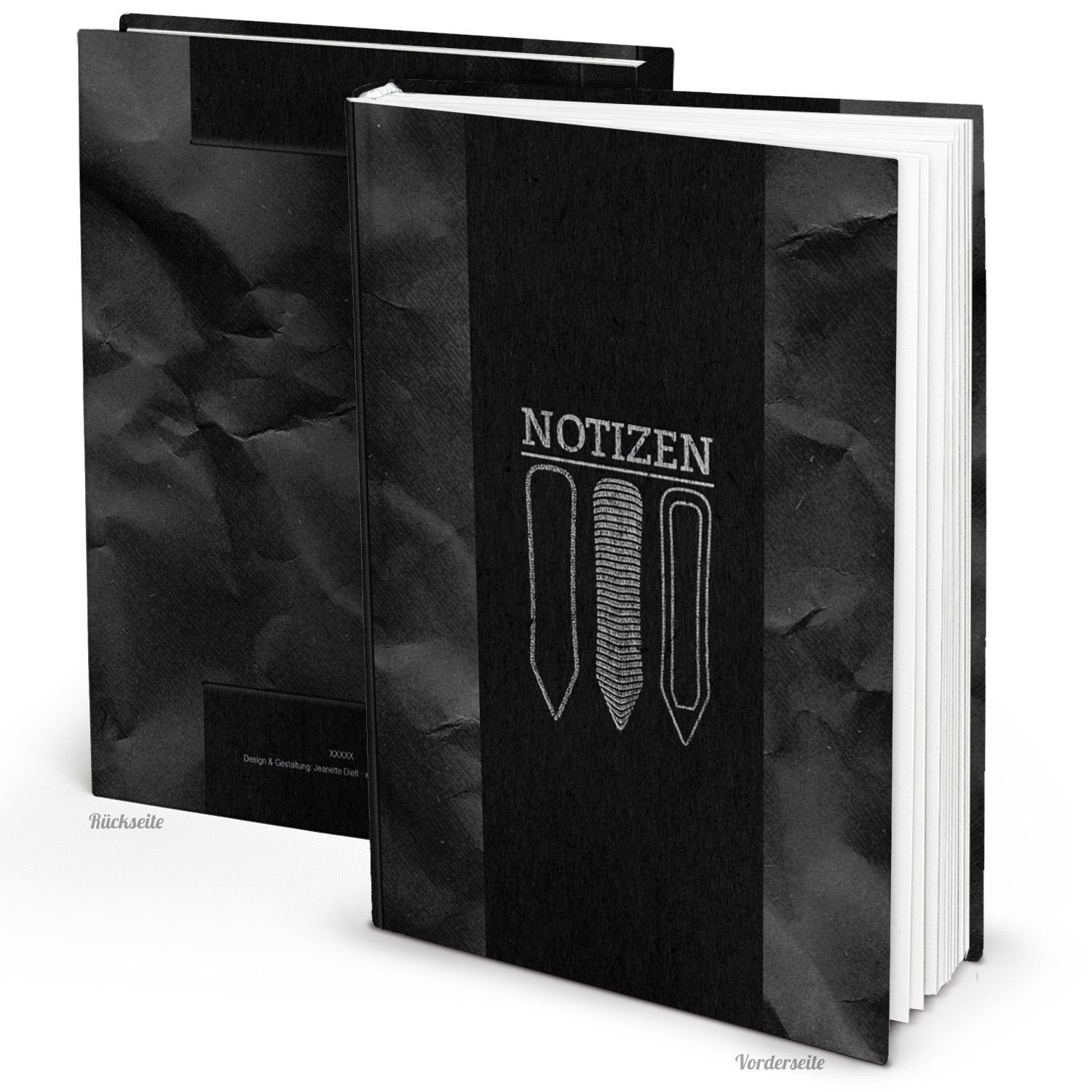 edles blanko notizbuch schwarz silber hardcover a4 blankoseiten von. Black Bedroom Furniture Sets. Home Design Ideas