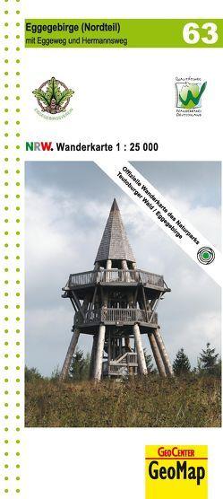 Eggegebirge (Nordteil) mit Eggeweg, E1, Jakobspilgerweg Blatt 63, topographische Wanderkarte NRW