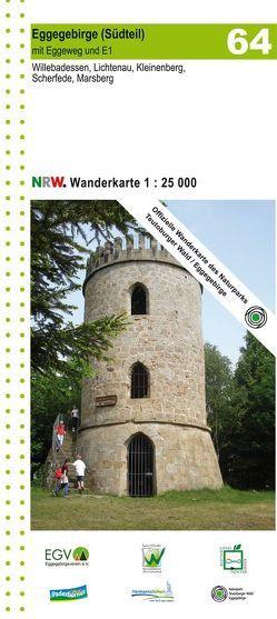 Eggegebirge (Südteil) mit Eggeweg und E1 Blatt 64, topographische Wanderkarte NRW