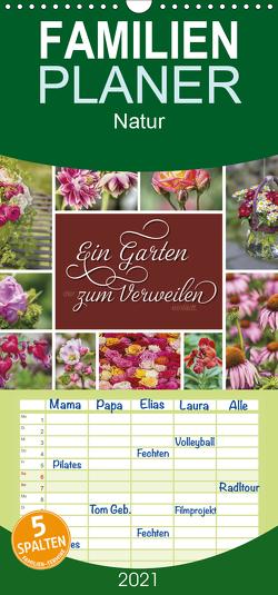 Ein Garten, der zum Verweilen einlädt – Familienplaner hoch (Wandkalender 2021 , 21 cm x 45 cm, hoch) von Kuhr,  Susann