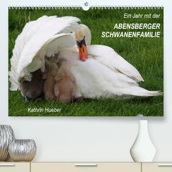 Ein Jahr mit der Abensberger Schwanenfamilie (Premium, hochwertiger DIN A2 Wandkalender 2021, Kunstdruck in Hochglanz) von Hueber,  Kathrin