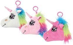 Einhorn-Plüschtasche mit Karabinerhaken Unicorn Anhänger für Tasche / Rucksack/ Schulranzen mit Reißverschluss und kleiner Tasche
