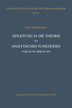 Einleitung in die Theorie der analytischen Funktionen von Ullrich,  Peter, Weierstrass,  Karl