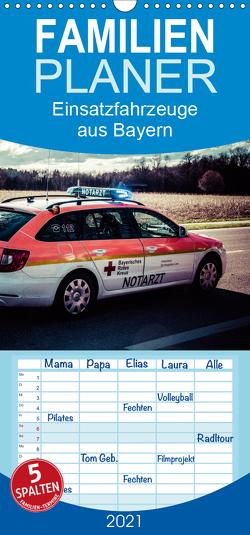 Einsatzfahrzeuge aus Bayern – Familienplaner hoch (Wandkalender 2021 , 21 cm x 45 cm, hoch) von Schnell,  Heinrich