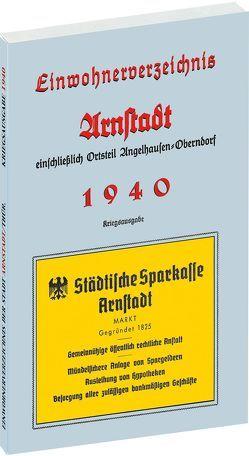 Einwohnerverzeichnis der Stadt ARNSTADT 1940