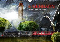 EISENBAHN – Dampf, Diesel und Strom (Wandkalender 2021 DIN A4 quer) von Fischer,  Harald