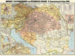 Eisenbahnkarte Österreich-Ungarn und Balkanstaaten 1918 von GVE-Verlag, Heller,  M.