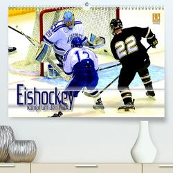Eishockey – Kampf um den Puck (Premium, hochwertiger DIN A2 Wandkalender 2021, Kunstdruck in Hochglanz) von Bleicher,  Renate