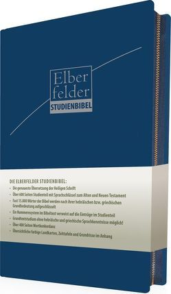 Elberfelder Studienbibel – ital. Kunstleder, blau, mit Reißverschluss