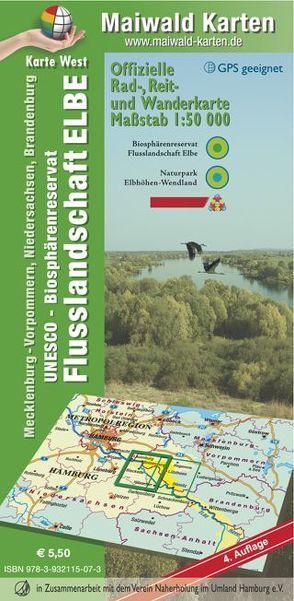 Elbetal West = Offizielle Rad-, Reit u. Wanderkarte – UNESCO – Biosphärenreservat Flusslandschaft Elbe – Karte West von Maiwald,  Detlef sen. u. Björn jr.