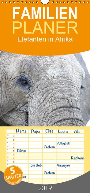 Elefanten in Afrika – Familienplaner hoch (Wandkalender 2019 , 21 cm x 45 cm, hoch) von Herzog,  Michael