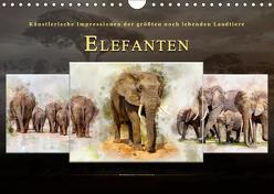 Elefanten – künstlerische Impressionen der größten noch lebenden Landtiere (Wandkalender 2019 DIN A4 quer) von Roder,  Peter