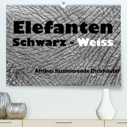 Elefanten Schwarz – Weiss (Premium, hochwertiger DIN A2 Wandkalender 2021, Kunstdruck in Hochglanz) von Stern,  Angelika