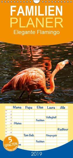 Elegante Flamingo – Familienplaner hoch (Wandkalender 2019 , 21 cm x 45 cm, hoch) von kattobello