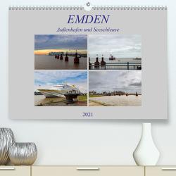Emden – Außenhafen und Seeschleuse (Premium, hochwertiger DIN A2 Wandkalender 2021, Kunstdruck in Hochglanz) von Poetsch,  Rolf