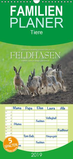 Emotionale Momente: Feldhasen – Familienplaner hoch (Wandkalender 2019 , 21 cm x 45 cm, hoch) von Gerlach GDT,  Ingo