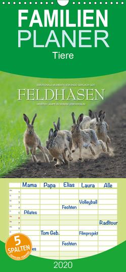 Emotionale Momente: Feldhasen – Familienplaner hoch (Wandkalender 2020 , 21 cm x 45 cm, hoch) von Gerlach GDT,  Ingo