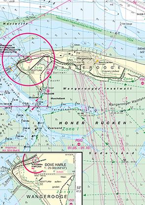 Emsmündung, innerer Teil und Borkum von Bundesamt für Seeschifffahrt und Hydrographie