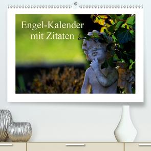 Engel-Kalender mit Zitaten (Premium, hochwertiger DIN A2 Wandkalender 2021, Kunstdruck in Hochglanz) von Riedel,  Tanja